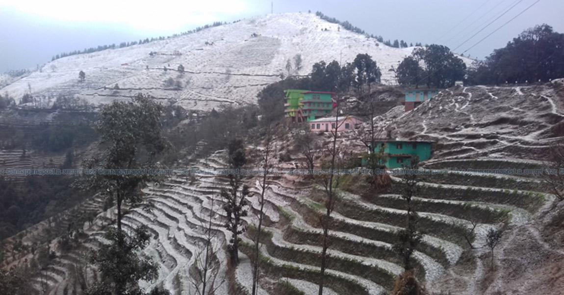 तेस्रोपटक उच्च लेकाली क्षेत्रमा हिमपात, चिसोबाट बच्न सर्तकता अपनाउन सुझाव
