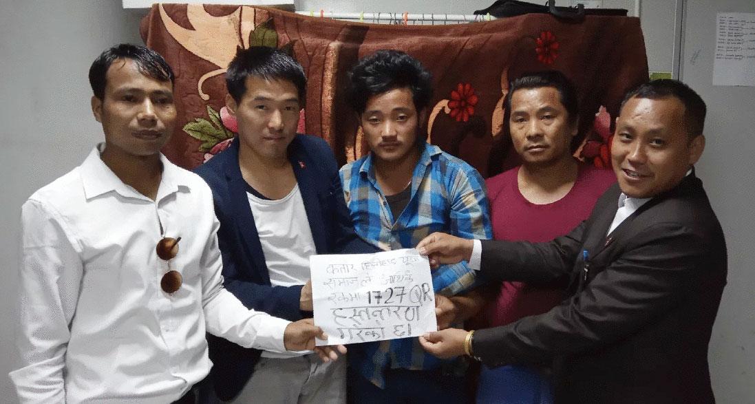 एकता समाजद्वारा पिडीत थाम्सुहाँङलाई आर्थिक सहयोग