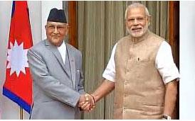 ओलीले काठमाण्डौंं र मोेदीले दिल्लीबाट स्विच थिचेर उद््घाटन गर्दैै