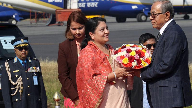 यसरी स्वागत गरियो बंगलादेशका राष्ट्रपतिलाई (तस्बिर सहित)