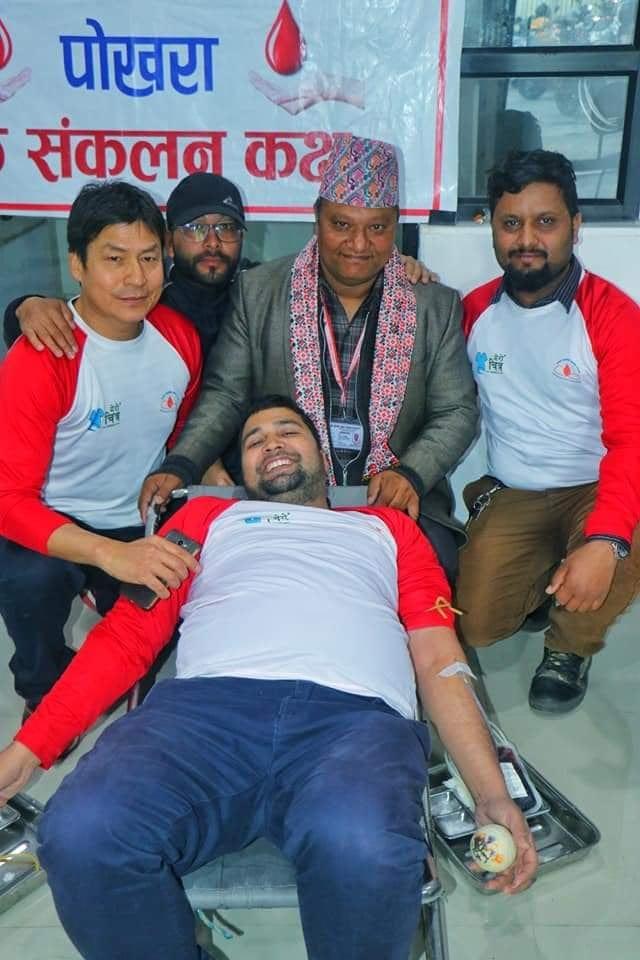 नेपाल स्वयंसेवी रक्तदाता समाज कास्कीद्वारा ११ प्रिन्ट रगत संकलन