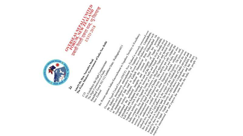 प्रवासी नेपाली एकता मन्च न्यूजिल्याण्डले बुझायो भारतीय दूतावासमा ज्ञापनपत्र