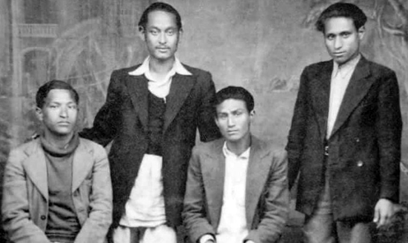 नेकपाका संस्थापकहरु क. पुष्पलाल श्रेष्ठ, क. नरबहादुर कर्माचार्य, क. निरञ्जनगोविन्द वैध र क. नारायणविलाश जोशी