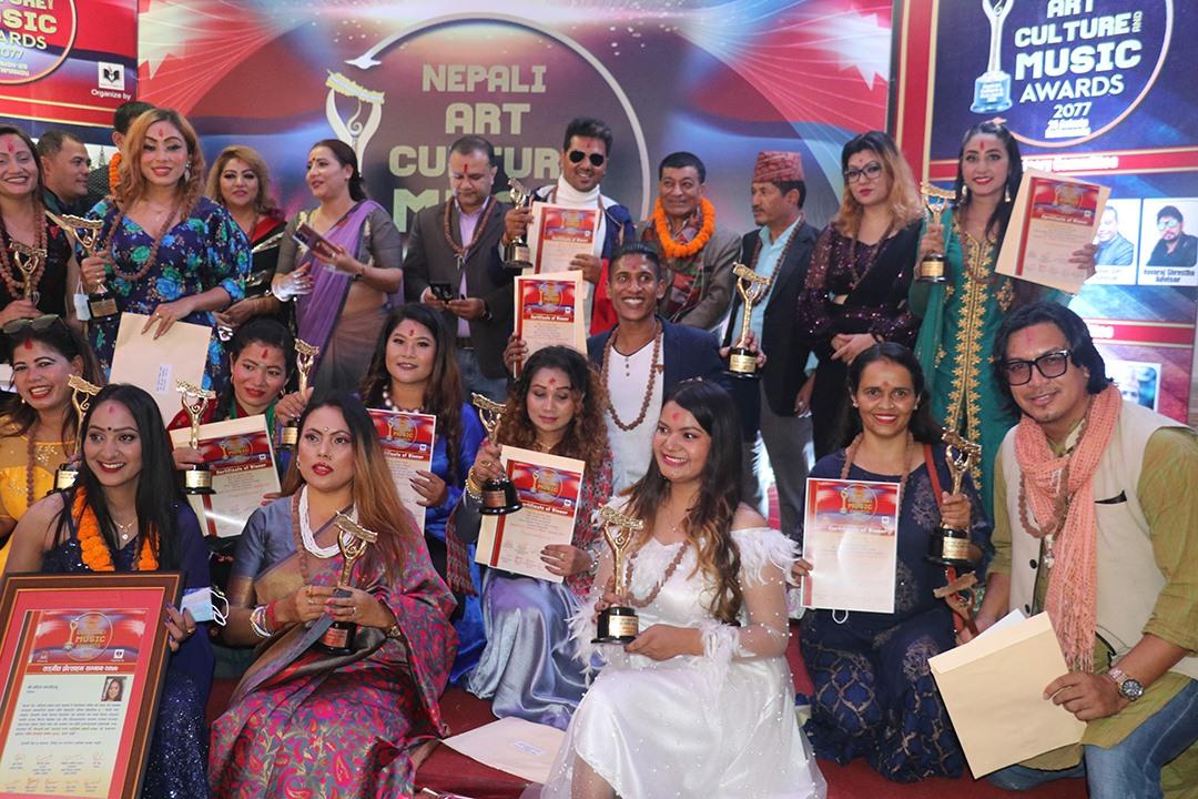 नेपाली आर्टकल्चर एण्ड म्यूजिक अवार्ड सम्पन्न, ६२ विधाका स्रष्टा र सिर्जना सम्मानित