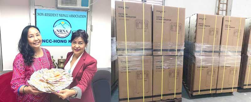 एनआरएनए हङकङले ५० थान अक्सिजन मेसिन नेपाल पठाउँदै